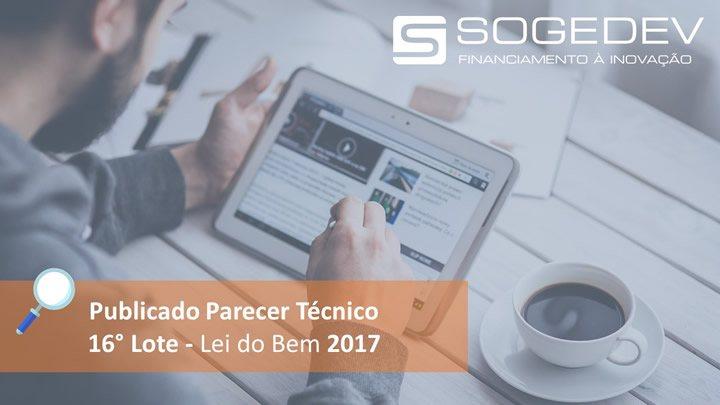 Publicado Parecer Técnico – 16° Lote – Lei Do Bem 2017