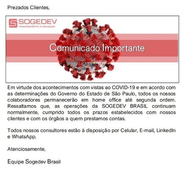 Comunicado Importante - Covid 19 - Sogedev BR